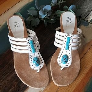 Aerosoles sandals size 10 Boho white slides